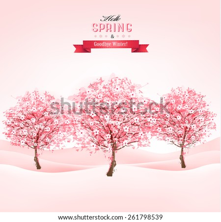 landscape with blooming sakura