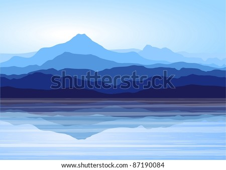 Stock Photo Landscape with blue mountains near lake (vector)