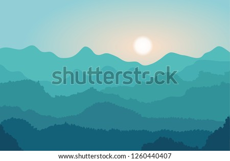 landscape with blue mountains
