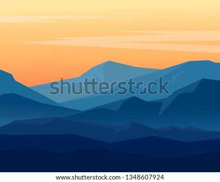 Landscape with blue silhouettes of mountains on orange evening sky. Huge geometric mountain range in twilight. Vector illustration.