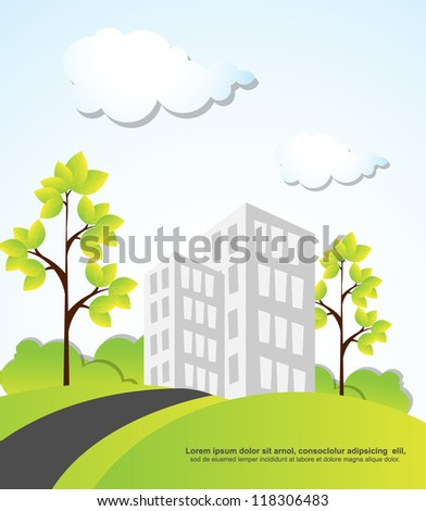 landscape with building trees and clouds