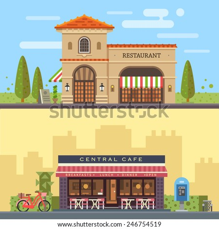 Landscape with buildings restaurant and cafe. Cityscape. Vector flat illustration - Shutterstock ID 246754519