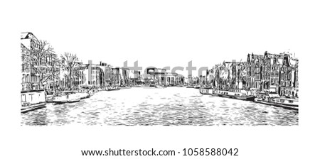 Landscape With Buildings View Of Amsterdam Capital Of The