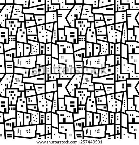 Landscape with city blocks. Black and white abstract seamless pattern.