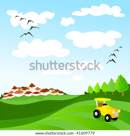 Landscape with country, fields and tractor at rest. Vector