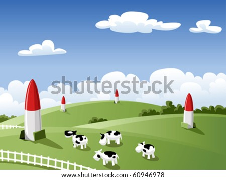 Landscape with cows and rockets, vector illustration