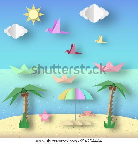 landscape with cut birds  ships