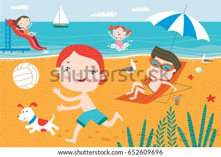 landscape with cute children in