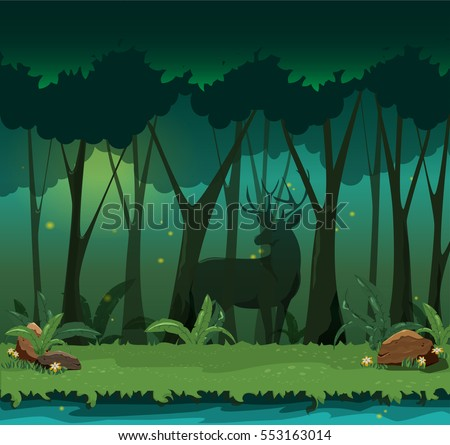 landscape with deer in fairy