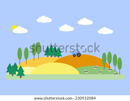 landscape with fields  barn and