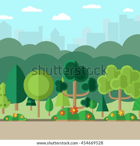 landscape with forest and city