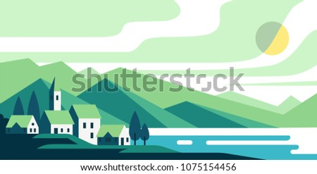 Landscape with houses and lake or bay and mountains on horizon.