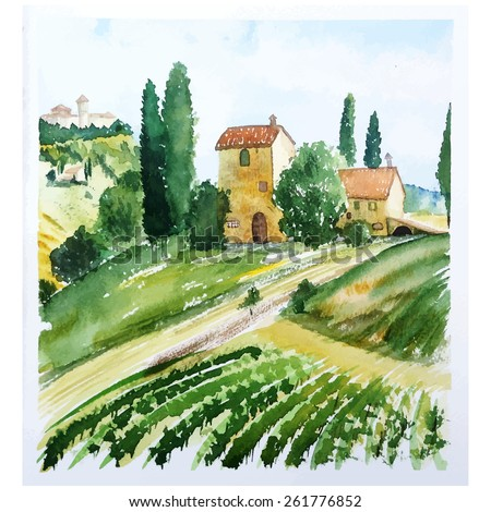 Landscape with houses, watercolor vector illustration