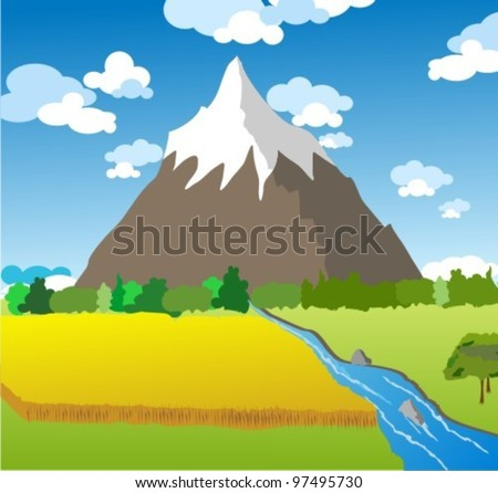 Landscape with meadow,river,  forest and mountains on a cloudy sky background