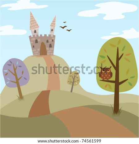 Landscape with medieval cartoon castle, trees, road and owl. Summer/spring version