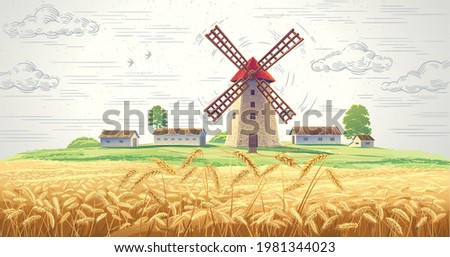Landscape with mill and with rural buildings and with ears of wheat in the foreground.