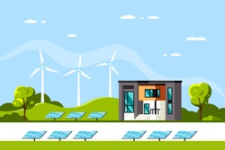 Landscape with Modern House, Solar Panels and Wind Turbines. Eco House, Energy Effective House, Green Energy concept banner design. Flat style vector illustration.