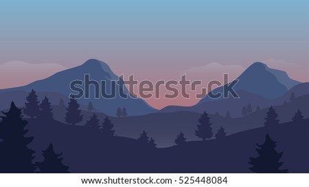 Landscape with mountains and trees - sunrise version - vector illustration