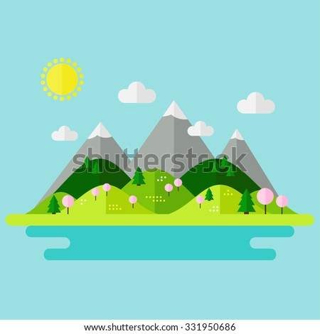 landscape with mountains  hills