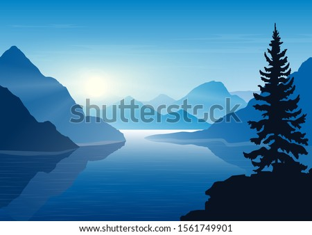 landscape with  mountains  lake