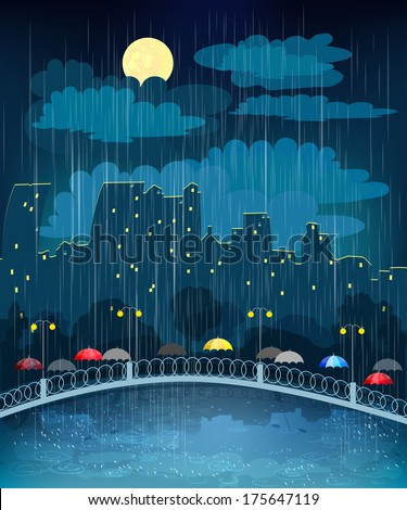Landscape with night city in rainy weather