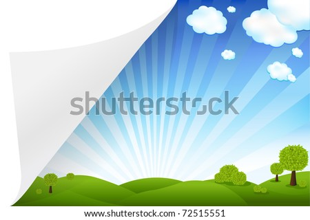 Landscape With Paper, Vector Illustration