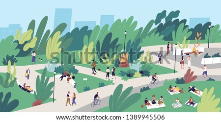 Landscape with people walking, playing, riding bicycle at city park. Urban recreation area with men and women performing leisure activities outdoors. Flat cartoon colorful vector illustration.