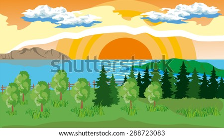 Landscape with pine, fir, grass on the shore of a lake under a blue cloudy sky with sun.
