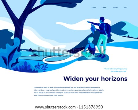 Landscape with plants and mountain peaks. Extreme Sports, vacation and outdoor recreation. People look at the horizon. Landing page template. 3d vector illustration.