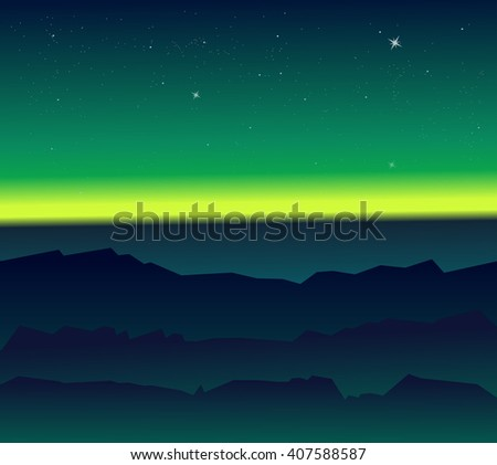 landscape with polar lights