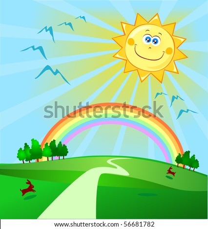 Landscape with rainbow and cute smiling sun, vector