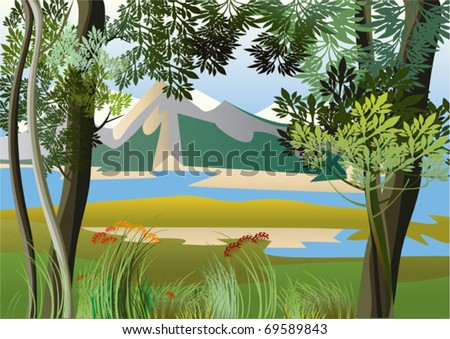 landscape with river and high