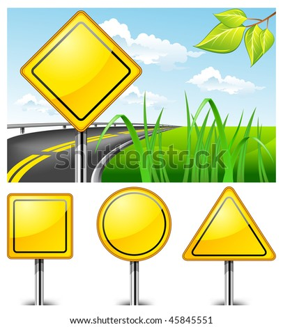 Landscape with road sign against nature and highway, vector illustration