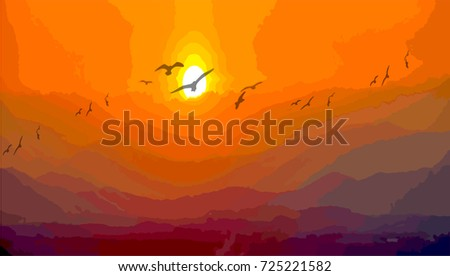 landscape with silhouettes of