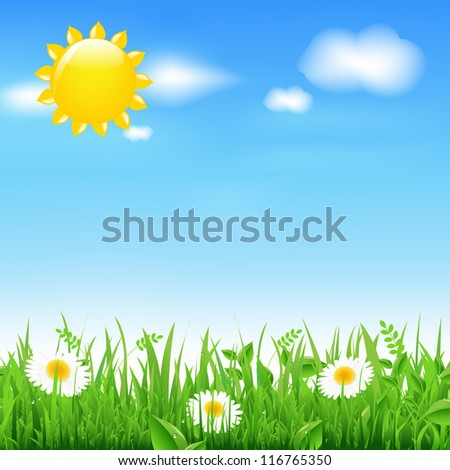 Landscape With Sun And Camomiles, With Gradient Mesh, Vector Illustration
