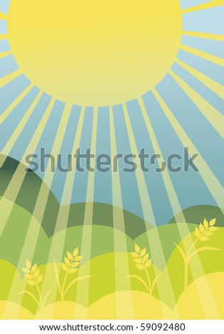 Landscape with sun and wheat axes