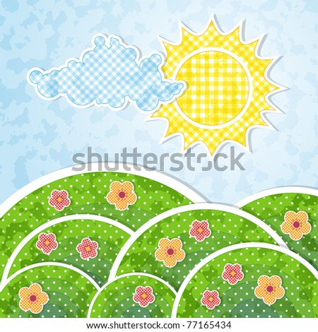 Landscape with sun, cloud and flowers with patchwork effect - stock vector