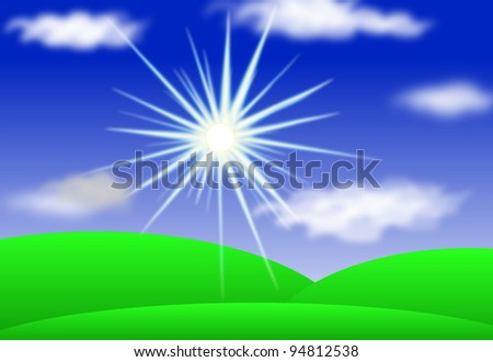 Landscape with Sun, Hills, Blue Sky And Clouds, Vector eps10