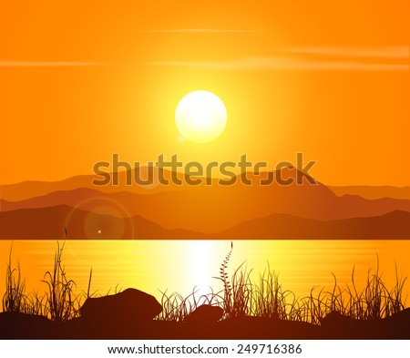 Landscape with sunset at the seashore. Grass silhouette over bright water and mountain range. Vector illustration.