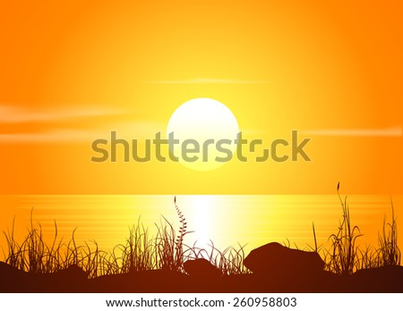 landscape with sunset at the