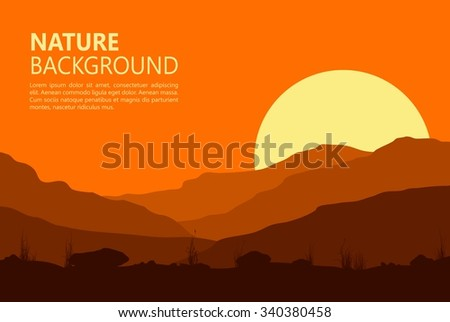 landscape with sunset in huge