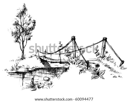 landscape with suspended bridge