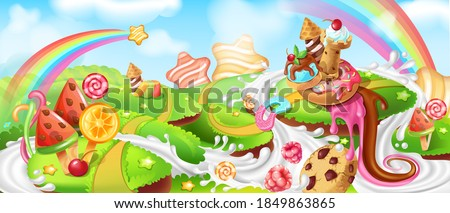 landscape with sweets cartoon