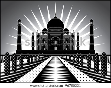 landscape with Taj Mahal in India illustration in  original style