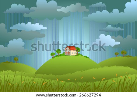 Landscape with the small house in rainy day, a vector illustration.