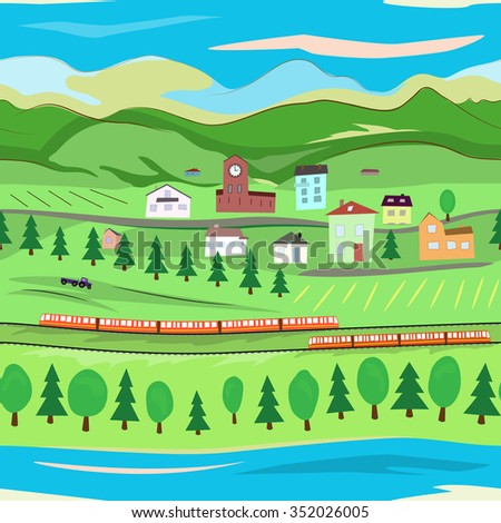 landscape with trains seamless
