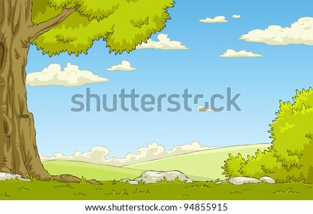 landscape with tree and shrub