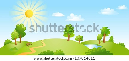 Landscape With Trees Clouds And Bright Sun. Vector Illustration
