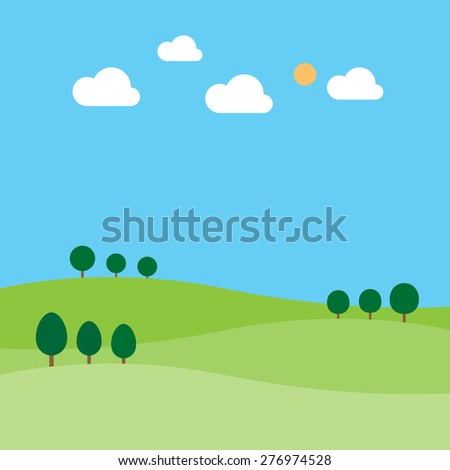 landscape with trees clouds sun