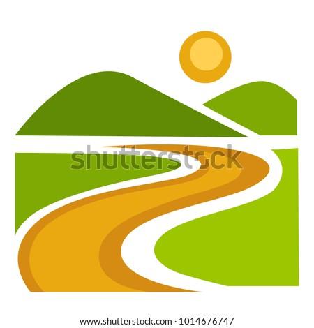landscape with wide green field
